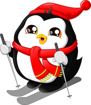 Cute cartoon penguin snow skiing