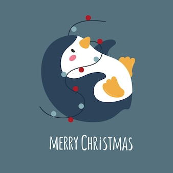 Cute cartoon penguin with garland merry christmas vector illustration lettering