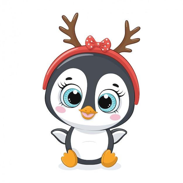 Cute cartoon penguin with xmas antler