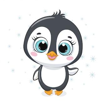 Милый мультяшный пингвин