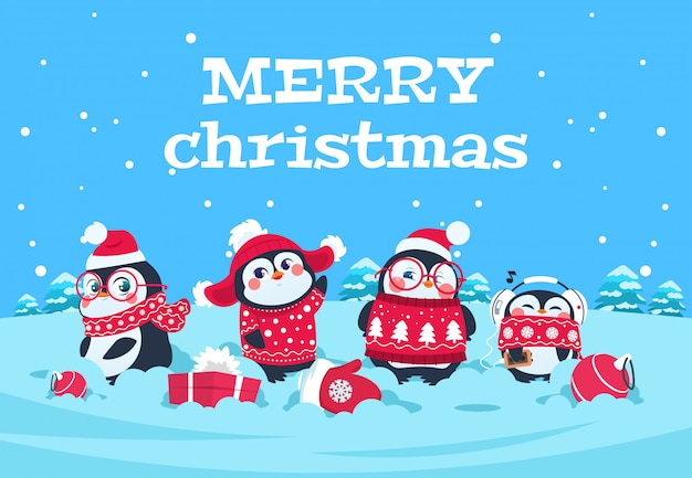 Cute cartoon penguins. christmas baby penguin arctic characters in snowy winter landscape. merry christmas greeting card