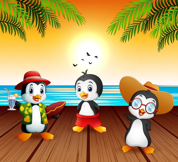 Cute cartoon penguins in summer holiday