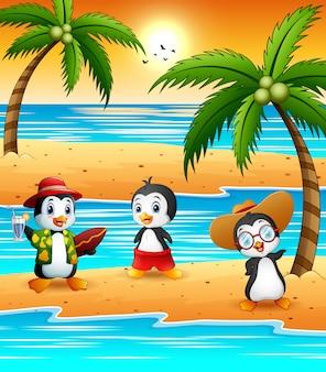 Cute cartoon penguins in summer holiday