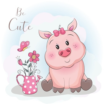 Cute cartoon pig and flower with sky background