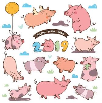 中国の新年の祭のためのかわいい漫画の豚