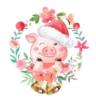 クリスマスの帽子とカラフルな花のイラストでかわいい漫画の豚