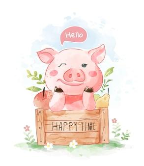 Милый мультфильм свинья в деревянной коробке иллюстрации
