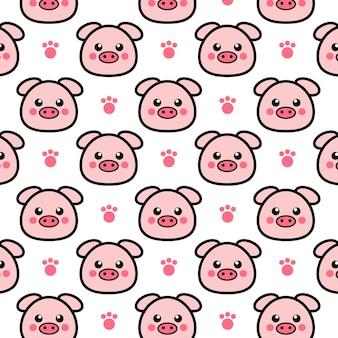 Милый мультфильм свинья бесшовные модели