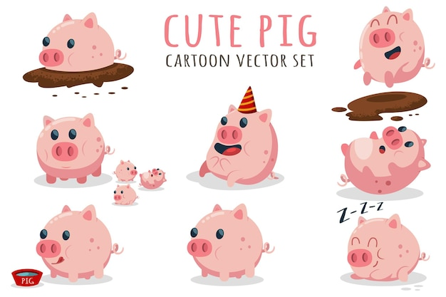 Cute cartoon pig set. illustration with farm animal in different poses