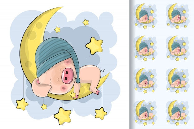 Cute cartoon pig sleep on the moon and seamless pattern for kids