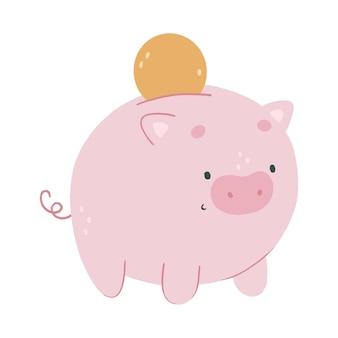 금화와 귀여운 만화 돼지 저금통