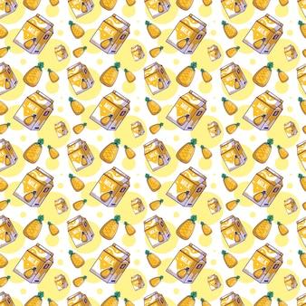 Cute cartoon pineapple with milk seamless pattern