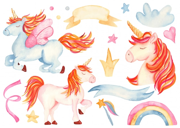 Cute cartoon pink and blue unicorn
