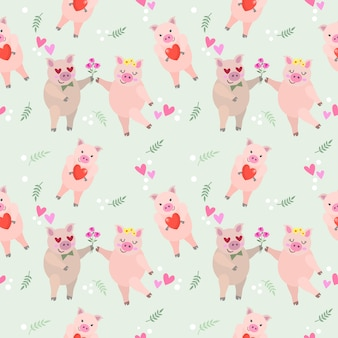 Cute cartoon pink couple pig seamless pattern.