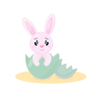 Cute cartoon pink easter bunny sitting in an easter egg looking at the viewer with cute eyes isolated vector illustration on a white background