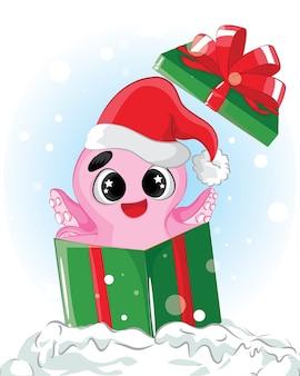 Симпатичный мультяшный розовый осьминог персонаж пират с повязкой на глазу на пиратском корабле, забавное животное океанского кораллового рифа