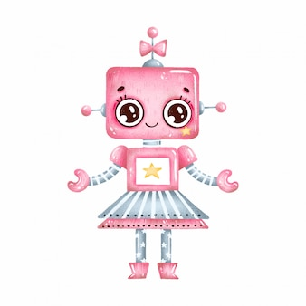Cute cartoon pink robot girl with big eyes and stars on a white background