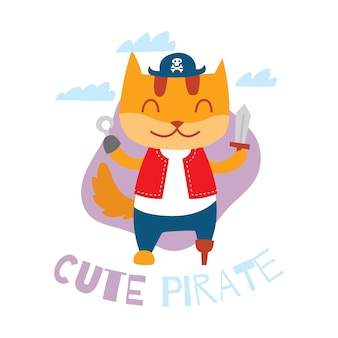 Cute cartoon pirate cat for children t-shirt design template series
