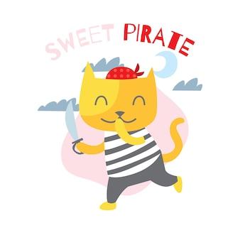 어린이 티셔츠 디자인 템플릿 시리즈 귀여운 만화 해적 고양이