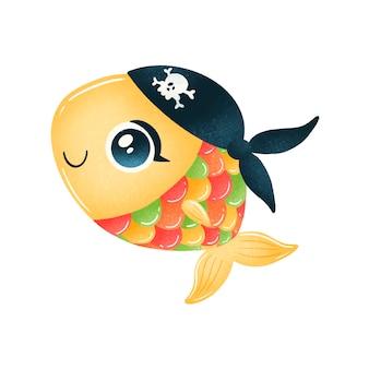 Cute cartoon pirate fish isolated on white  . animal pirates