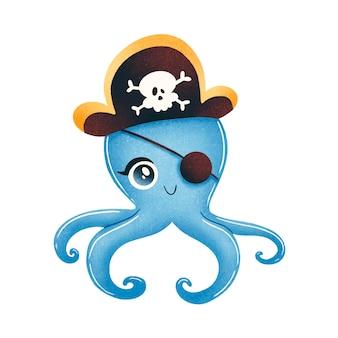 귀여운 만화 해적 문어 흰색 절연입니다. 동물 해적