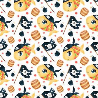 귀여운 만화 해적 동물 완벽 한 패턴입니다. 물고기 해적 패턴