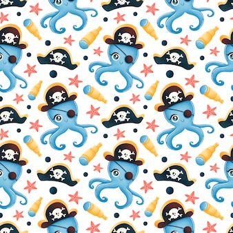 Милый мультфильм пиратов животных бесшовные модели. осьминог пиратский узор