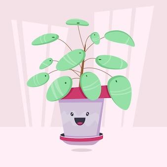 냄비에 재미있는 얼굴을 가진 귀여운 만화 식물. 카드, 초대장 또는 스티커로 사용할 수 있습니다.
