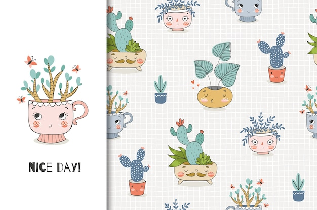 Cute cartoon plants in the pot, illustration and seamless pattern set