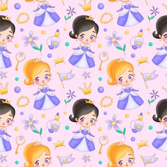 Cute cartoon princess seamless pattern