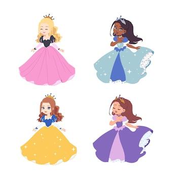 かわいい漫画のお姫様セット。