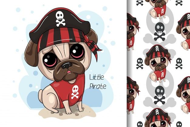Cute cartoon pug dog pirate. vector print