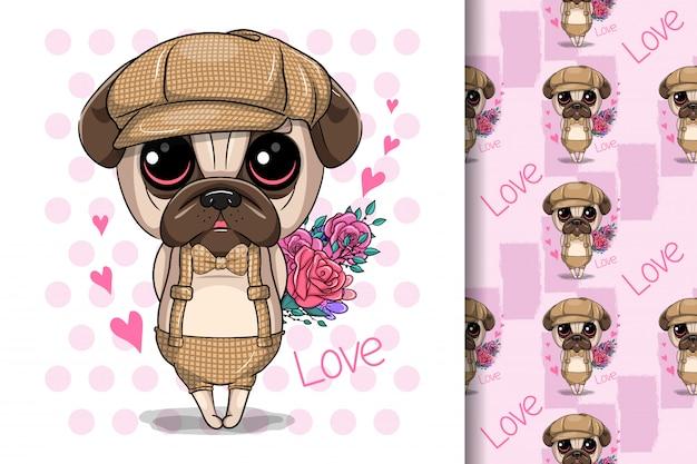 Cute cartoon pug dog with flowers