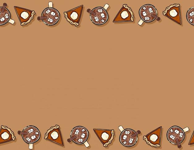 かわいい漫画のカボチャのパイスライスとカカオホットチョコレートのシームレスパターン。秋の装飾背景テクスチャタイル