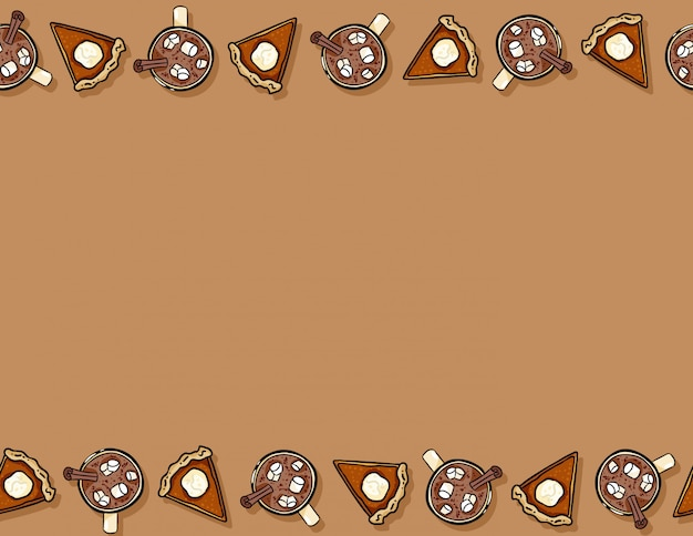 Cute cartoon pumpkin pie slice and cacao hot chocolate seamless pattern. fall decoration background texture tile