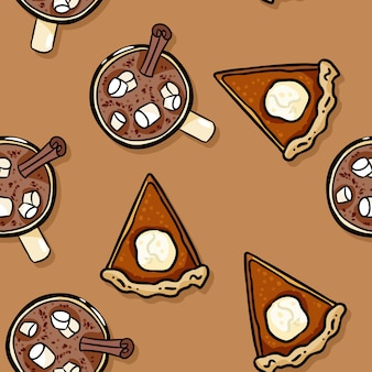 Cute cartoon pumpkin pie slice and cacao hot chocolate seamless pattern
