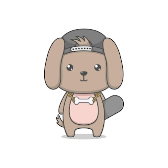 스케이트 보드를 들고 귀여운 만화 강아지 개 캐릭터