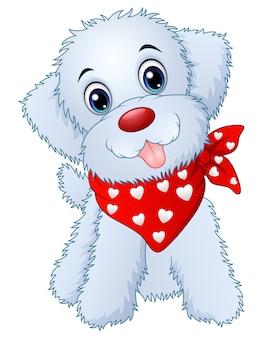 Симпатичный мультфильм щенка в красном шарфе Premium векторы