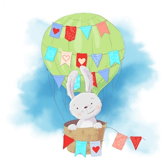 Cute cartoon rabbit in a balloon on a watercolor style. vector illustration