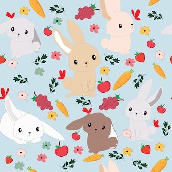 Cute cartoon rabbit bunny seamless pattern