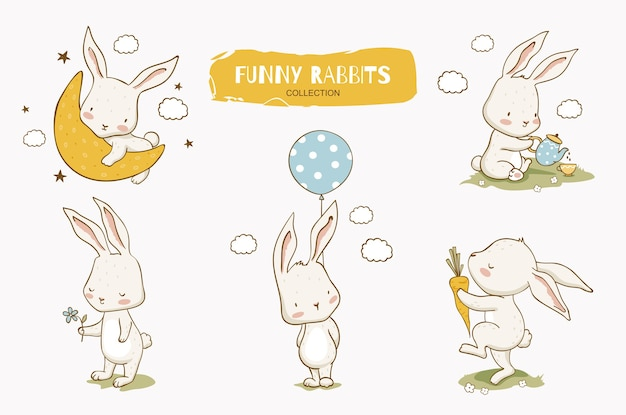Cute cartoon rabbit character collection bunny on the moon with balloon and carrot. hand drawn  set