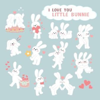 Милый мультфильм кролик пара прекрасная коллекция валентина