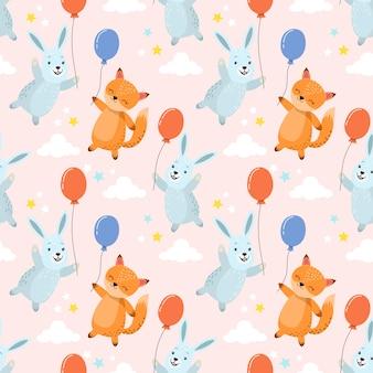 Cute cartoon rabbit and fox with balloon seamless pattern.