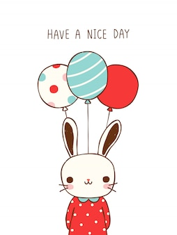 Cute cartoon rabbit holding balloons