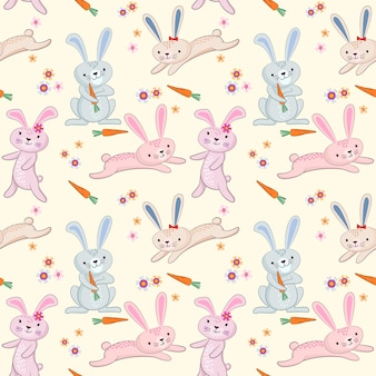 Cute cartoon rabbit pattern