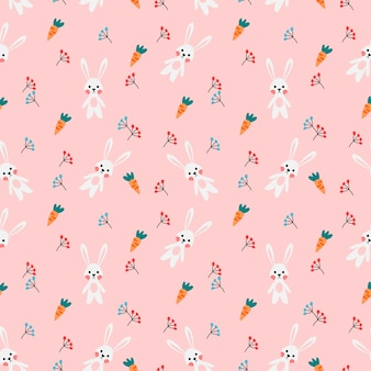 Cute cartoon rabbit seamless pattern