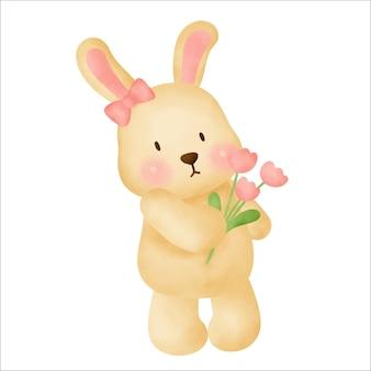 Милый мультфильм кролик акварель рука рисовать иллюстрацию