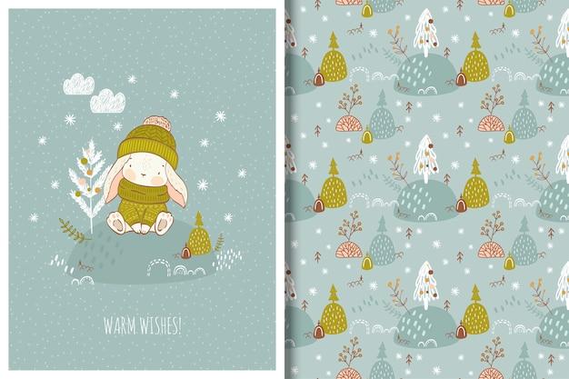 Cute cartoon rabbit winter illustration seamless pattern