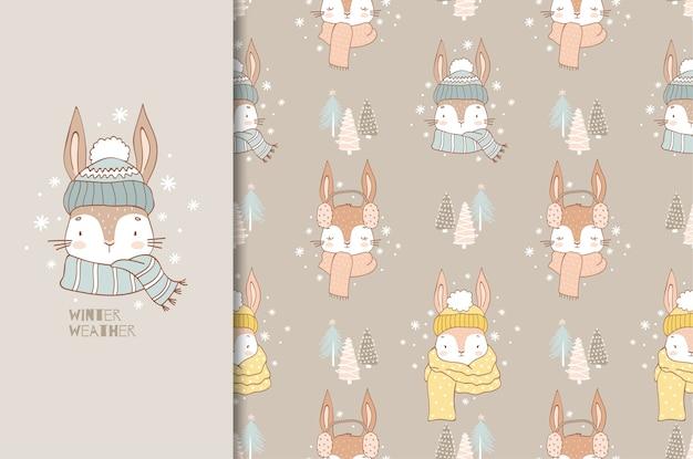 Cute cartoon rabbit in winter scarf illustration and seamless pattern