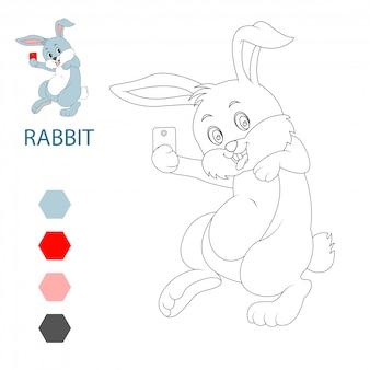 Cute cartoon rabbits, coloring book